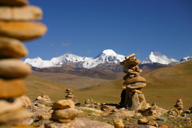 Himalayan Range with Carins stock photography
