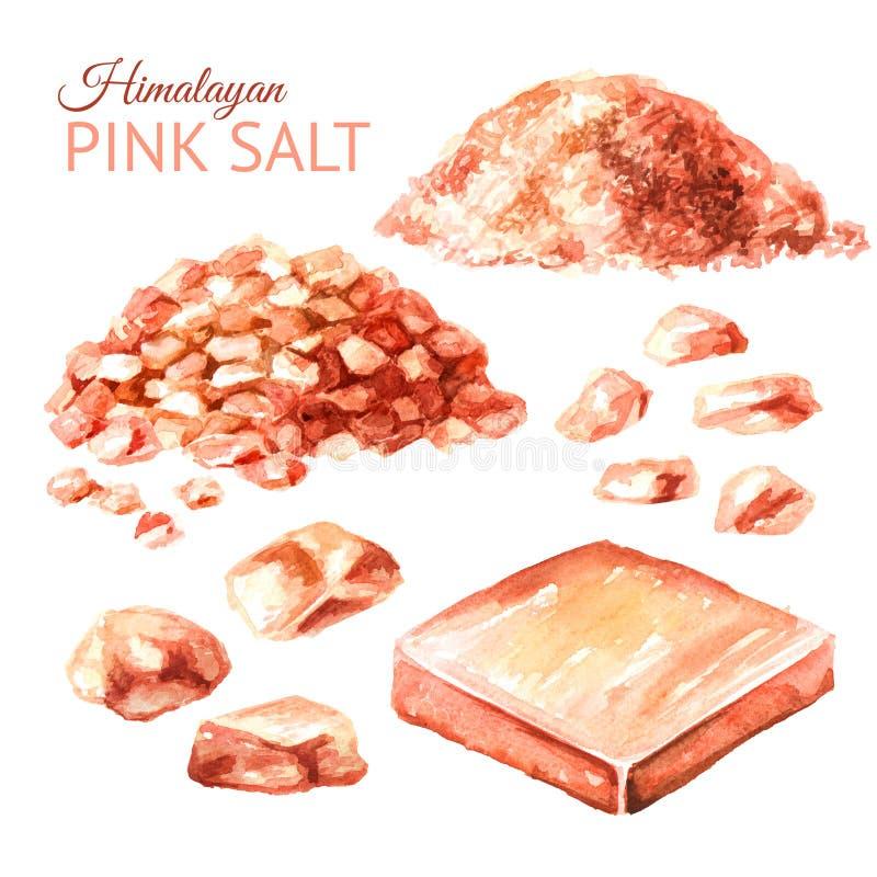Himalayan roze zoute reeks Waterverfhand getrokken die illustratie, op witte achtergrond wordt geïsoleerd