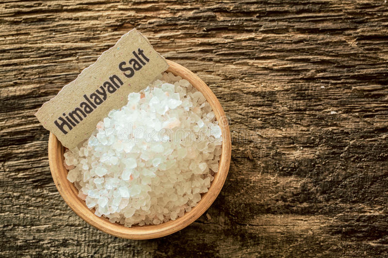 Download Himalayan salt in a bowl stock image. Image of copyspace - 33388755
