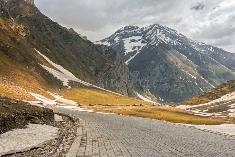 Himalayan snö caped det väldiga Zozila passerandet i Ladakh, Jammu and Kashmir, Indien royaltyfri bild