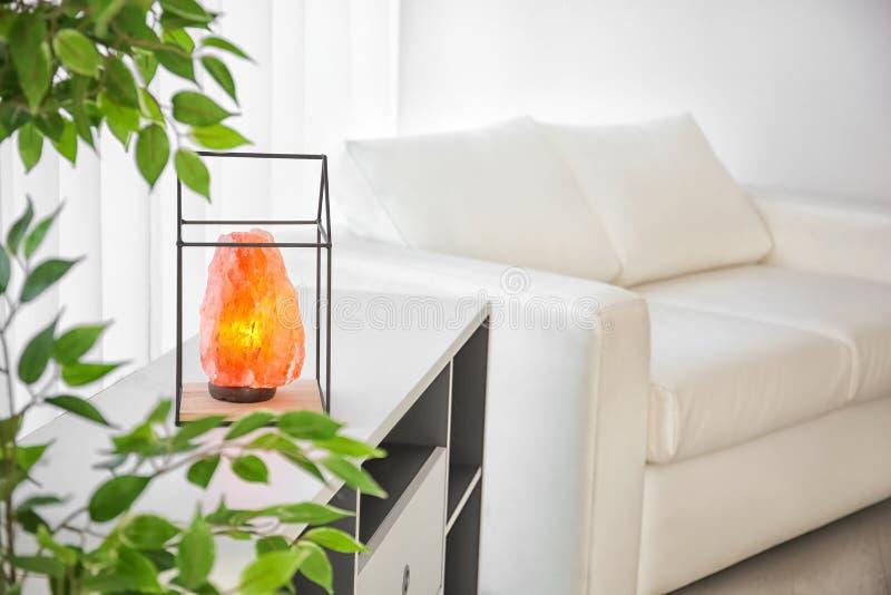 Himalayan zoute lamp bij het opschorten van eenheid royalty-vrije stock afbeelding