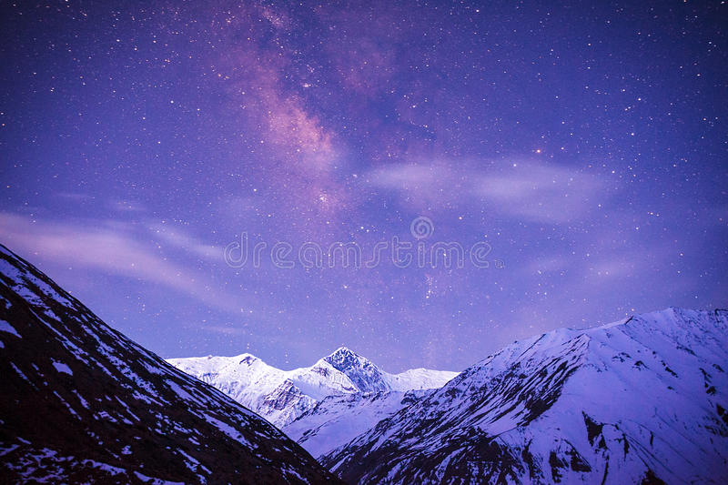 Himalayas Milky Way royalty free stock photography