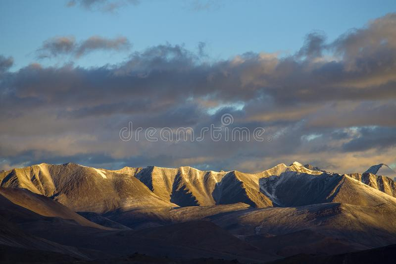 Himalayas mountain at sunrise along Manali - Leh highway. Ladakh, India. Dawn in the Himalayan mountains stock image