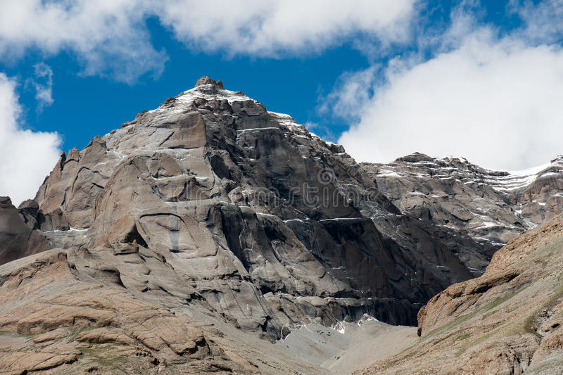 Himalayas Mountain Tibet. Kailash - the holiest mountain of Tibet. Object of pilgrimage of buddhist, hindu, jains and adepts of bon religion. Home of the Lord stock photography