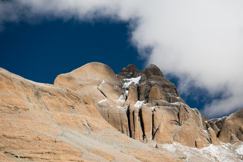 Himalayas mountain Tibet sky and clouds. Kailash Yantra.lv 2016 TIBET Himalayas mountain royalty free stock photography