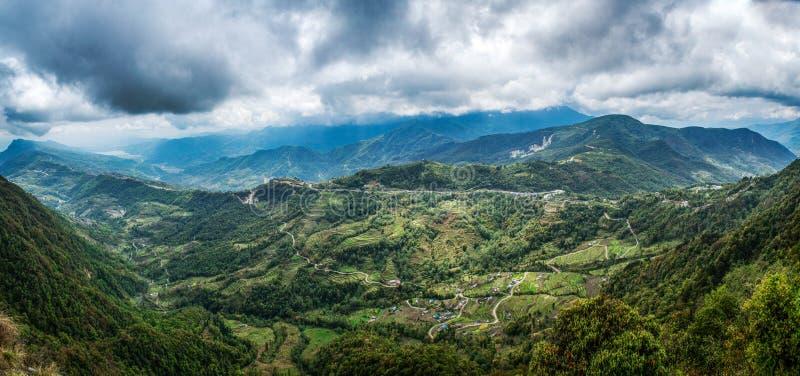 Himalayas mountains amazing landscape panoramic photo. At Mardi Himal trekking area in Nepal stock photo