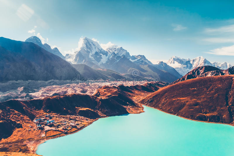 Himalayas. View from Gokyo Ri. 5360 meters up in the Himalaya Mountains of Nepal, snow covered high peaks and lake not far from Everest. Beautiful nature royalty free stock images