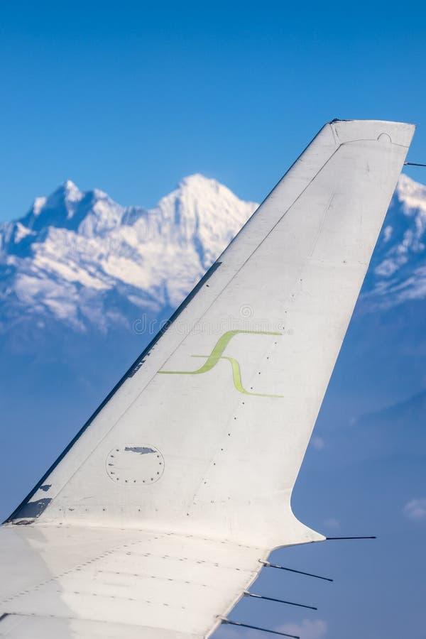 Himalayas vistos de um voo em Nepal imagem de stock royalty free