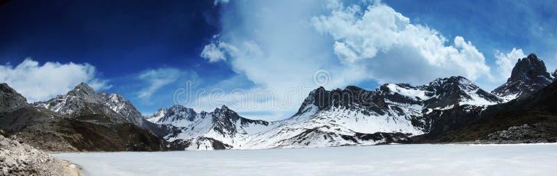 Himalchuli and frozen lake royalty free stock photos