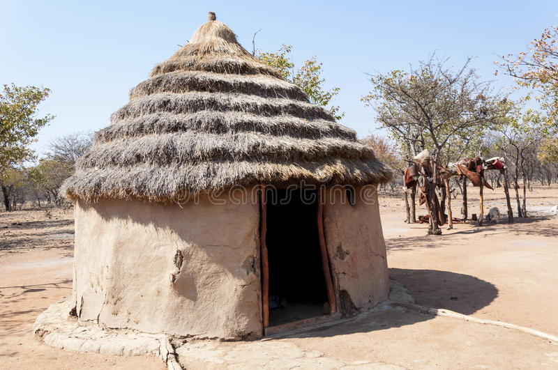 Himba village. Made with clay. Namibia stock images