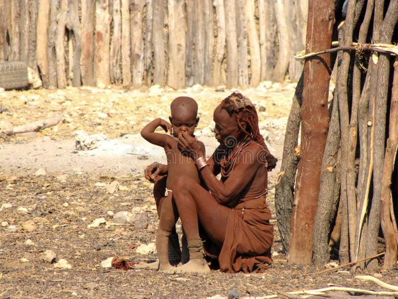 Download Himba Woman With A Small Boy Editorial Photo - Image: 13026261
