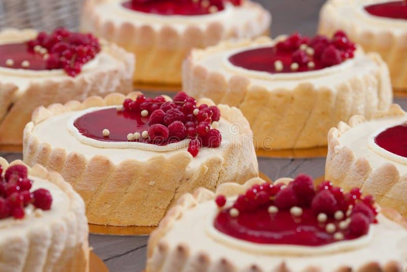 Himbeercharlotte-Kuchen lizenzfreie stockbilder
