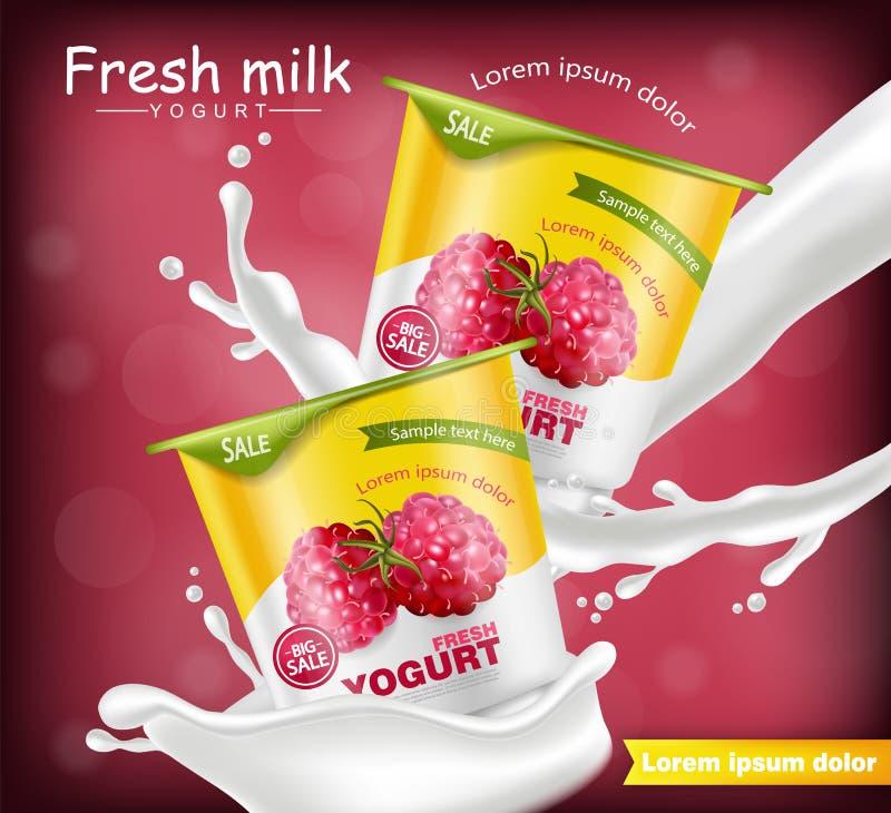 Himbeerjoghurt Vektor realistisch Produktplatzierungsspott oben Frisches Jogurtspritzen mit Früchten Geometrische Formen 3d einze lizenzfreie abbildung