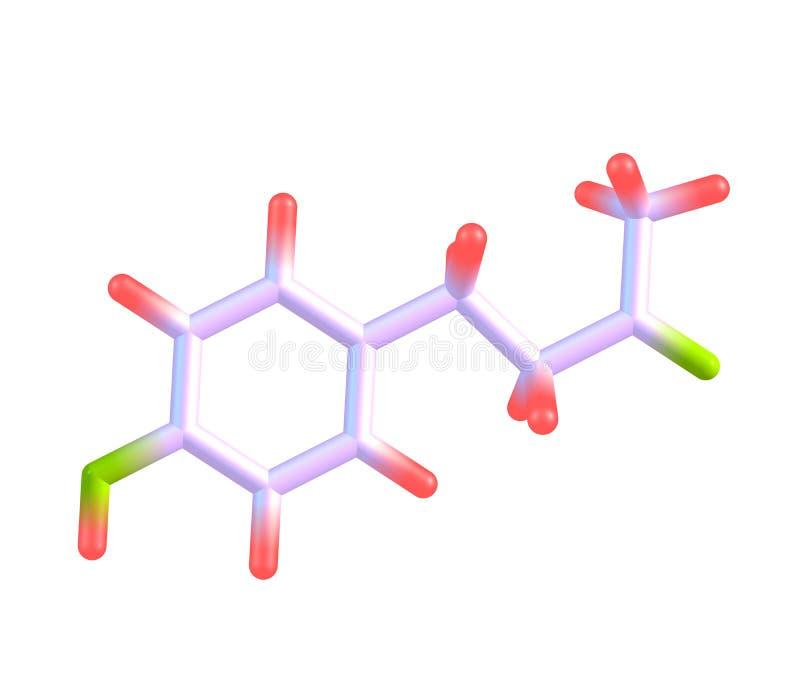 Himbeerketonmolekül lokalisiert auf Weiß lizenzfreie abbildung
