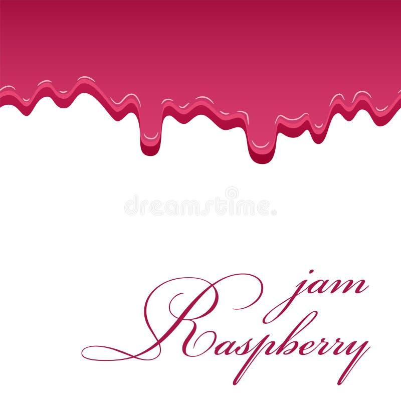 Himbeersüße Marmelade 3D Realistisches flüssiges nahtloses Muster lokalisierter weißer Hintergrund Geleebeere Confiture Erdbeere stock abbildung