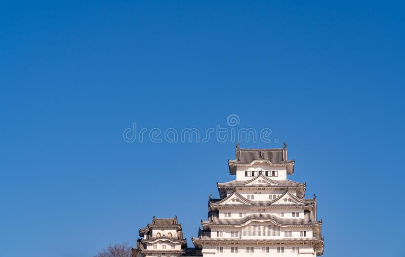Himeji Castle in clear blue sky sunny day, Hyogo Prefecture, Japan. Himeji Castle in clear blue sky sunny day, as known as Hakuro-jo or Shirasagi-jo (White Egret stock photography