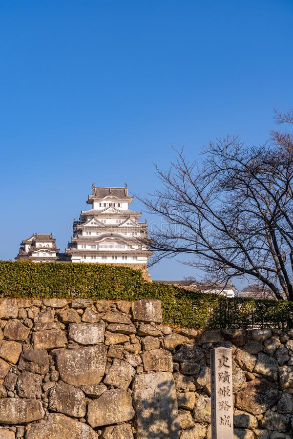 Himeji Castle in clear blue sky sunny day, Hyogo Prefecture, Japan. Himeji Castle in clear blue sky sunny day, as known as Hakuro-jo or Shirasagi-jo (White Egret royalty free stock photography