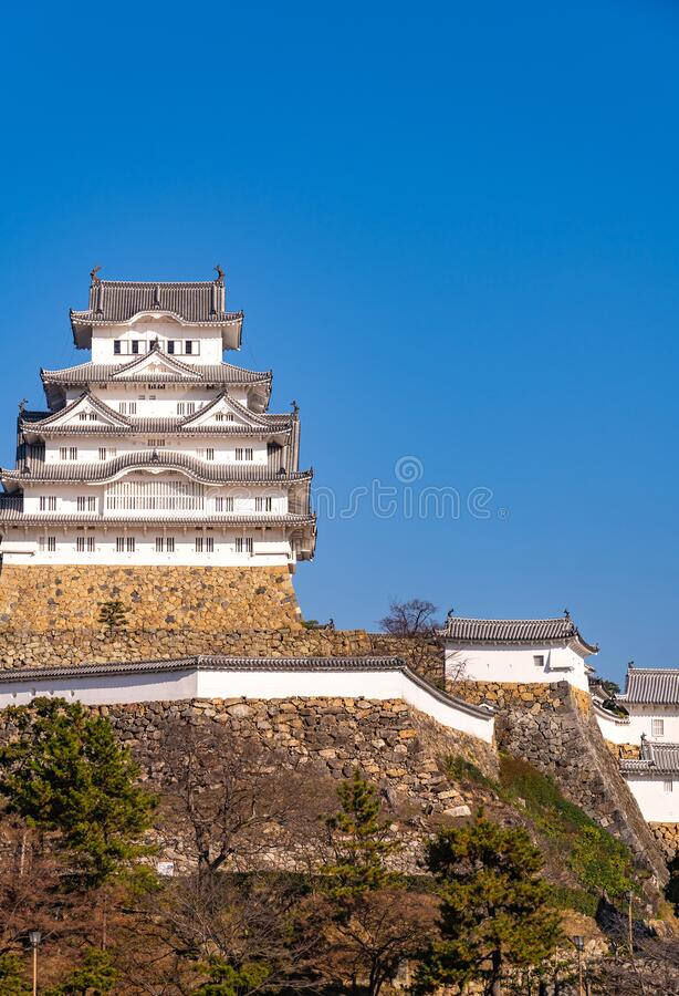Himeji Castle in clear blue sky sunny day, Hyogo Prefecture, Japan. Himeji Castle in clear blue sky sunny day, as known as Hakuro-jo or Shirasagi-jo (White Egret stock image
