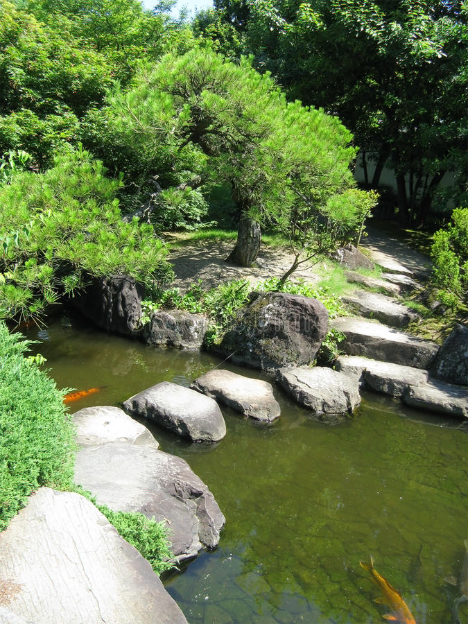 Himeji Castle gardens with a stone walk royalty free stock photography