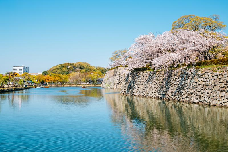 Himeji Castle park, canal and cherry blossoms at spring in Japan. Asia royalty free stock photo