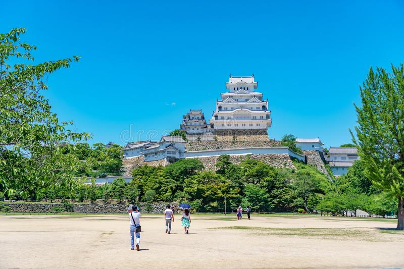 Himeji Castle and tourists, white Heron castle royalty free stock photos