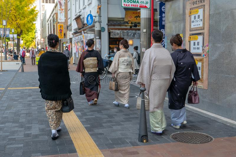 HIMEJI, HYOGO 10 PREFECTUUR-NOVEMBER, 2018: Niet geïdentificeerde groep stock afbeelding