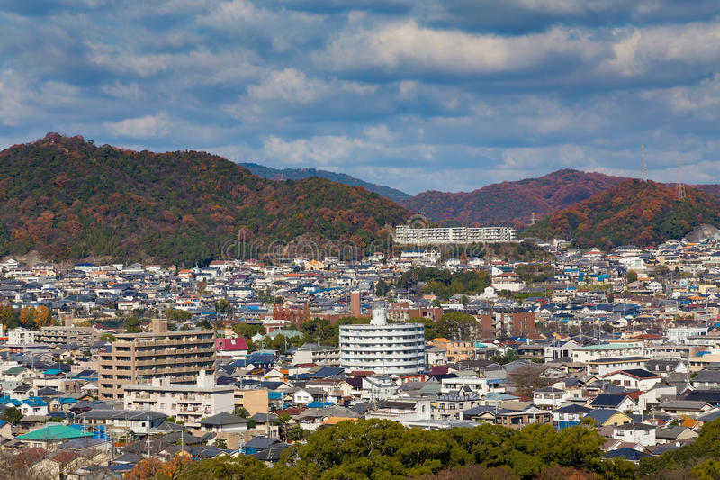 Himeji residence downtown aerial view. From Himeji castle in Hyogo, Kansai, Japan during autumn season stock photo