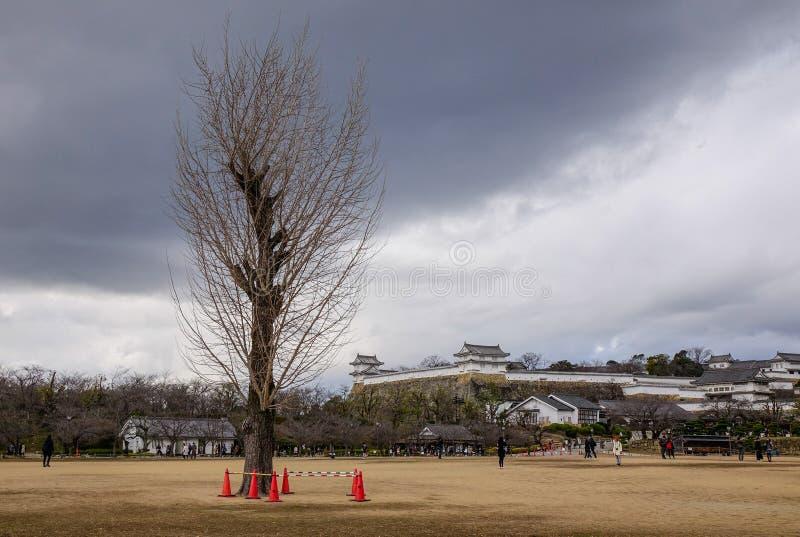 Himeji-Schloss am regnerischen Tag stockfotos