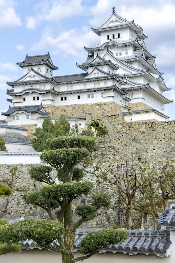 Himeji slott eller vitägretthägerslott arkivfoton