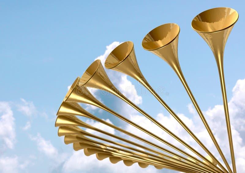 Himla- medeltida trumpetcirkel och himmel royaltyfri illustrationer