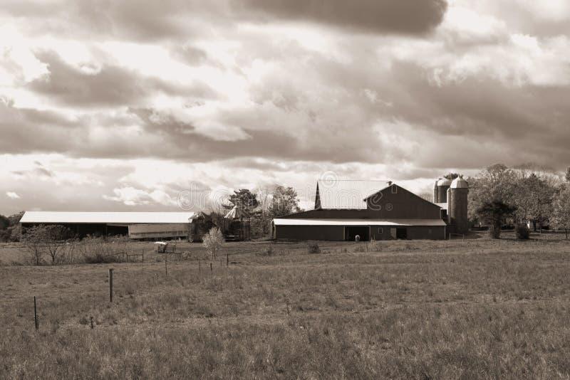 Himmel über Bauernhof in Pennsylvania. B&W lizenzfreie stockfotografie