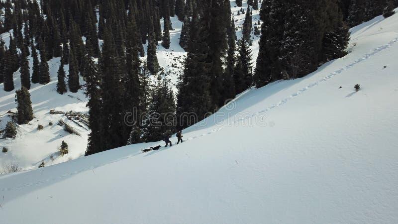 Himmel in den Wolken, welche die Schnee-mit einer Kappe bedeckten Spitzen der Berge übersehen Zwei Reisende mit Hunden klettern d stockbilder