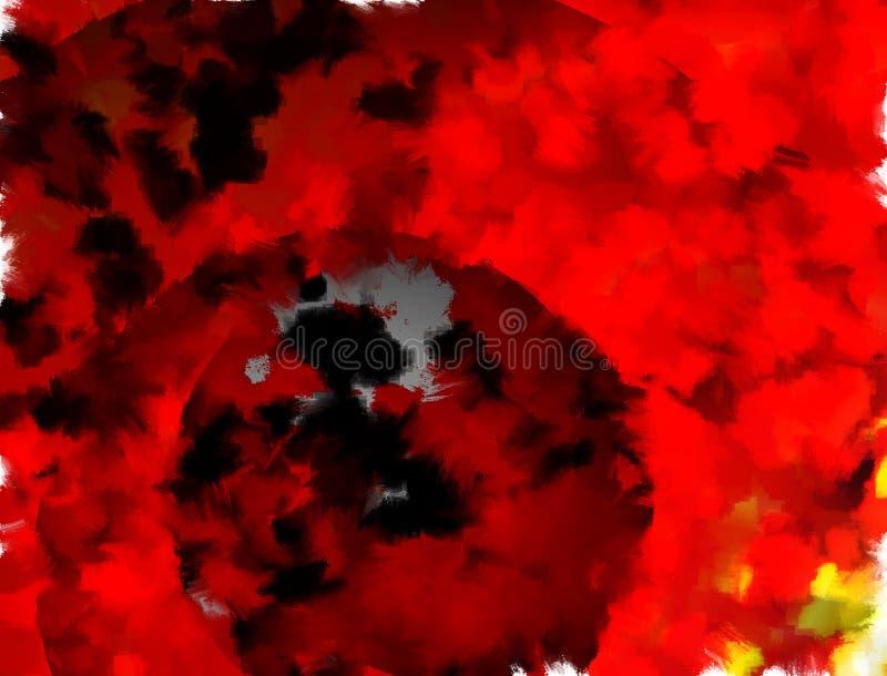 Himmel des roten Feuers mit dunklem Planeten stock abbildung