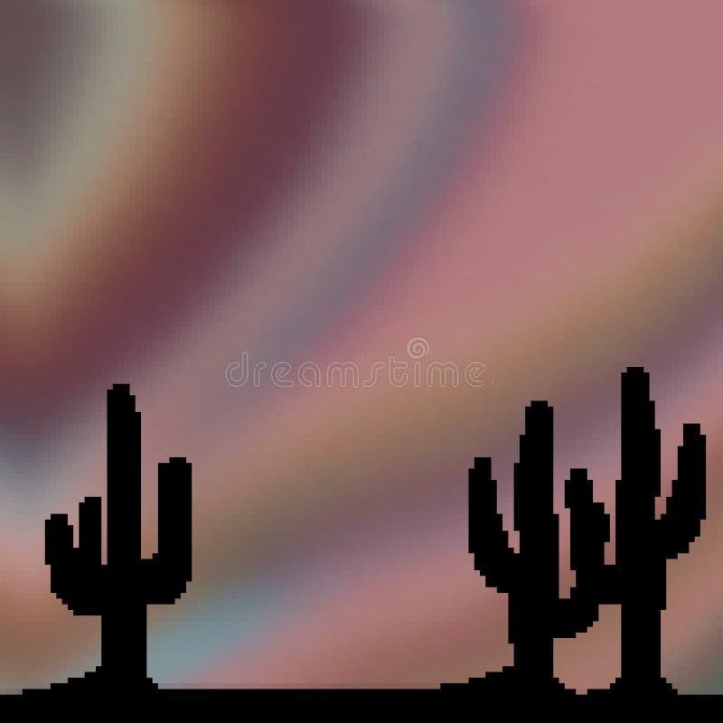 Himmel för öken för bit för PIXEL 8 utdragen livlig med kaktusförgrund royaltyfri illustrationer