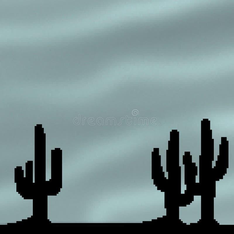 Himmel för öken för bit för PIXEL 8 utdragen livlig med kaktusförgrund stock illustrationer