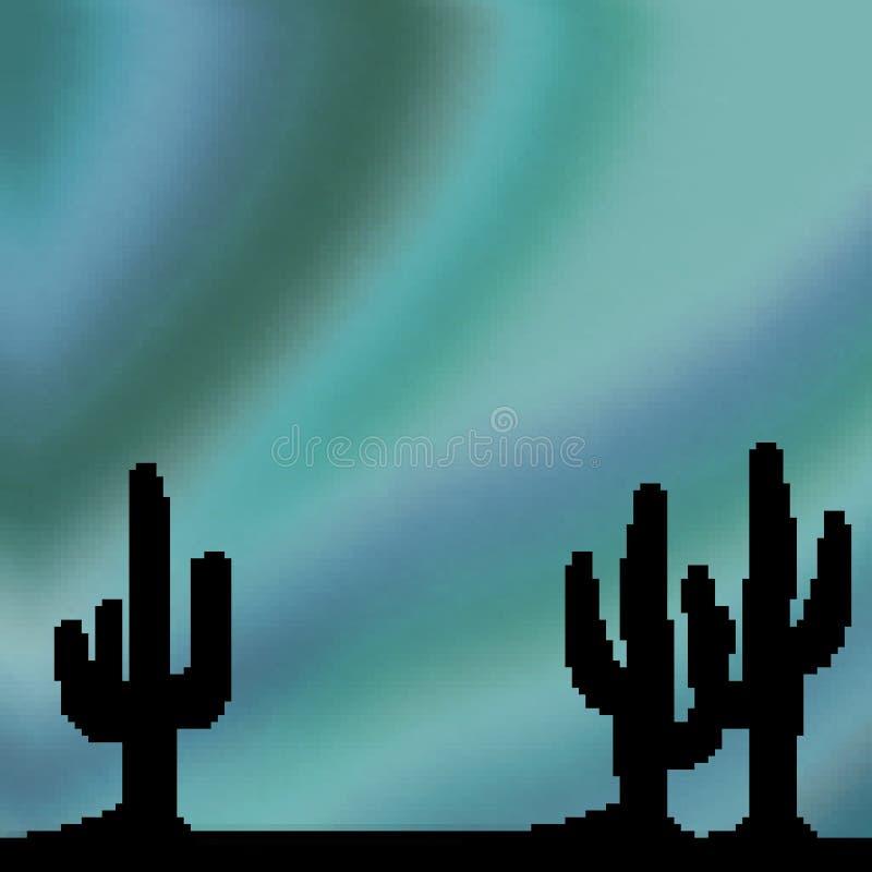Himmel för öken för bit för PIXEL 8 utdragen livlig med kaktusförgrund vektor illustrationer