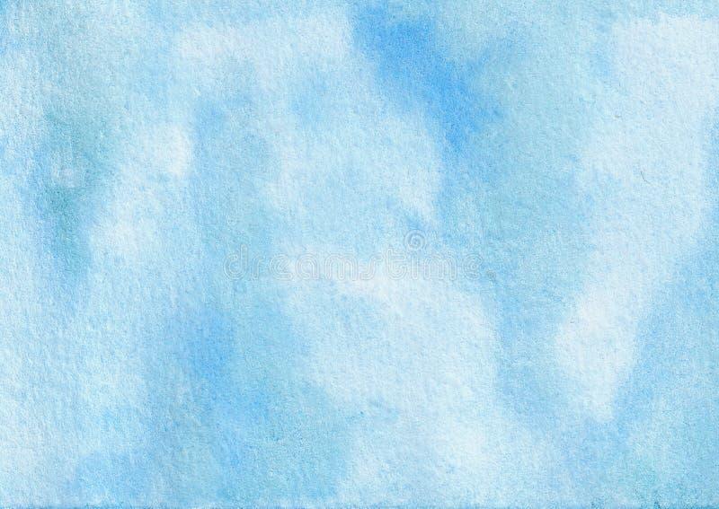 Himmel för den utdragna vattenfärgen för handen plaskade abstrakt blå texturerad bakgrund stock illustrationer