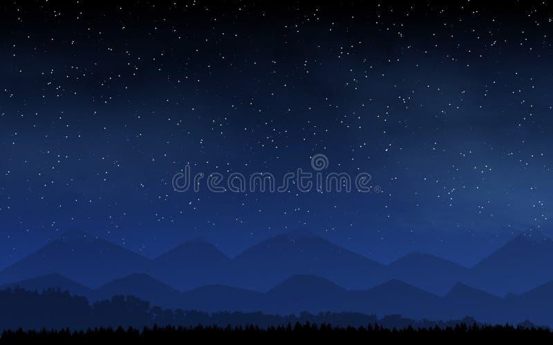 Himmel för djup natt med många stjärnor och månen royaltyfri illustrationer
