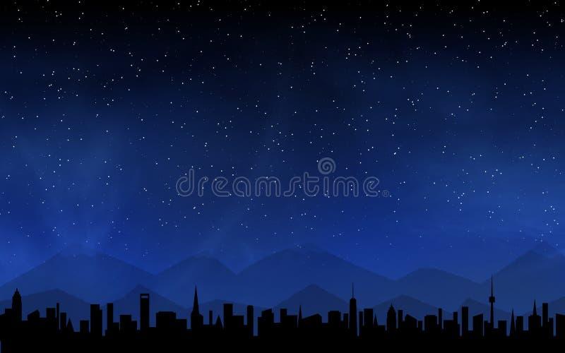 Himmel för horisont och för djup natt royaltyfri illustrationer