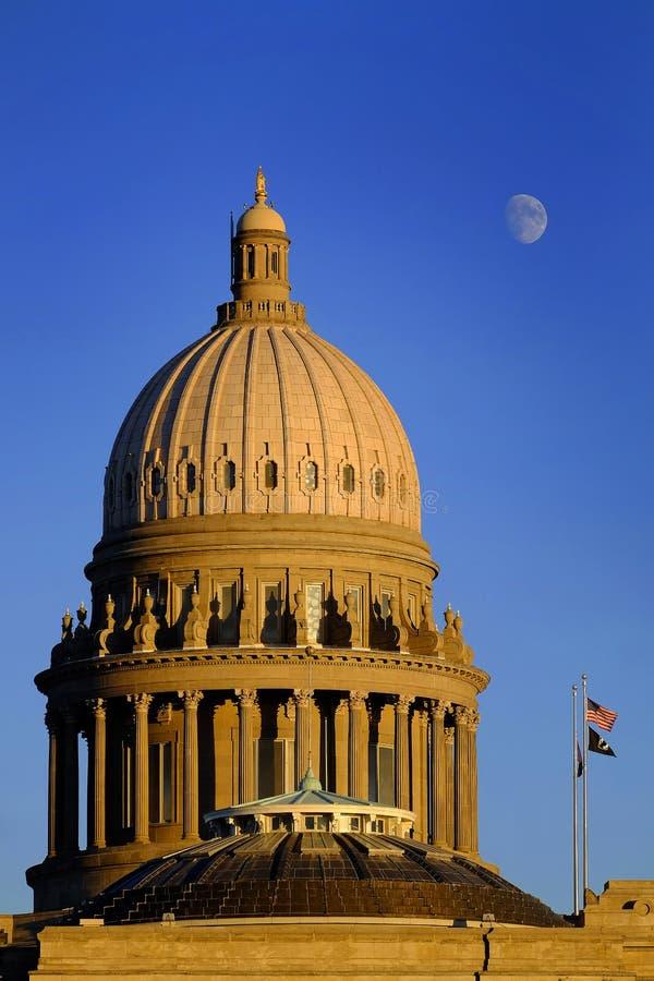 Himmel för måne för regerings- lagar för kupol för byggnad för Idaho statKapitolium laglig arkivbilder