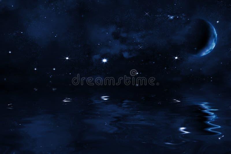 Himmel för stjärnklar natt med den stannade månen över havet, ljusa stjärnor och den blåa nebulosan vektor illustrationer