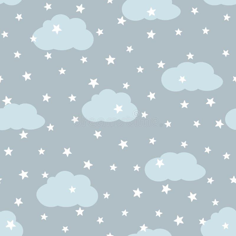Himmel med moln och stjärnor barn mönsan seamless stock illustrationer