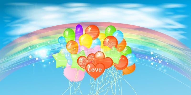 Himmel mit Wolken Regenbogen und vielen Ballonen lizenzfreie abbildung