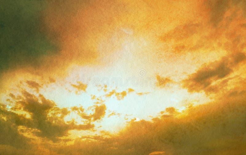 Himmel mit Wolken in strukturierter Art des Schmutzes Aquarell-BAC lizenzfreie stockfotos