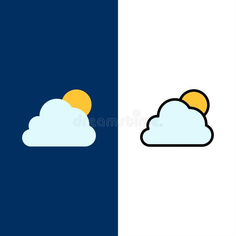 Himmel moln, sol, molniga symboler Lägenheten och linjen fylld symbol ställde in blå bakgrund för vektorn stock illustrationer