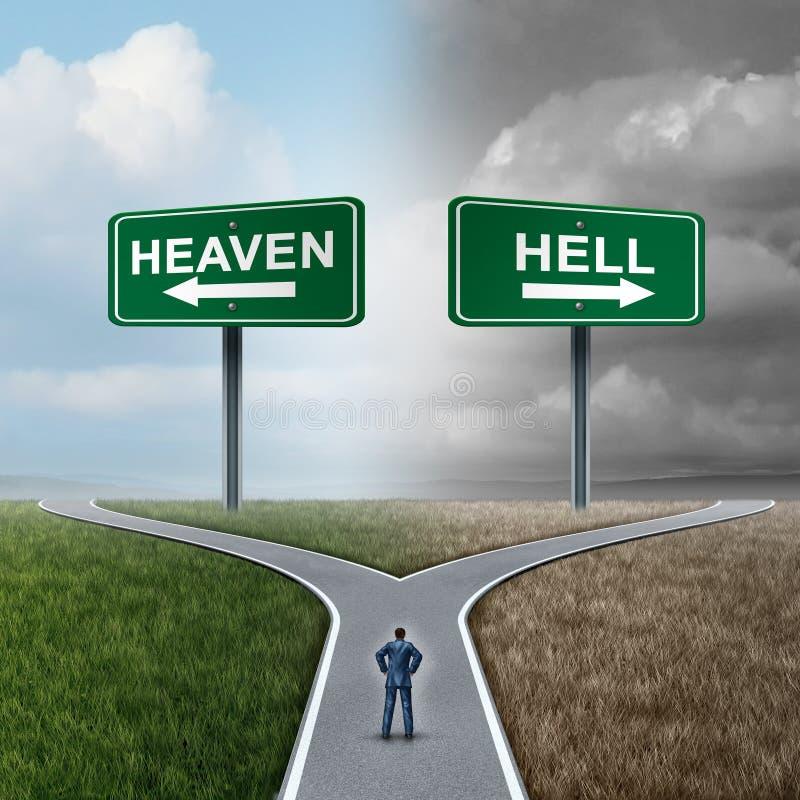 Himmel och helvete stock illustrationer