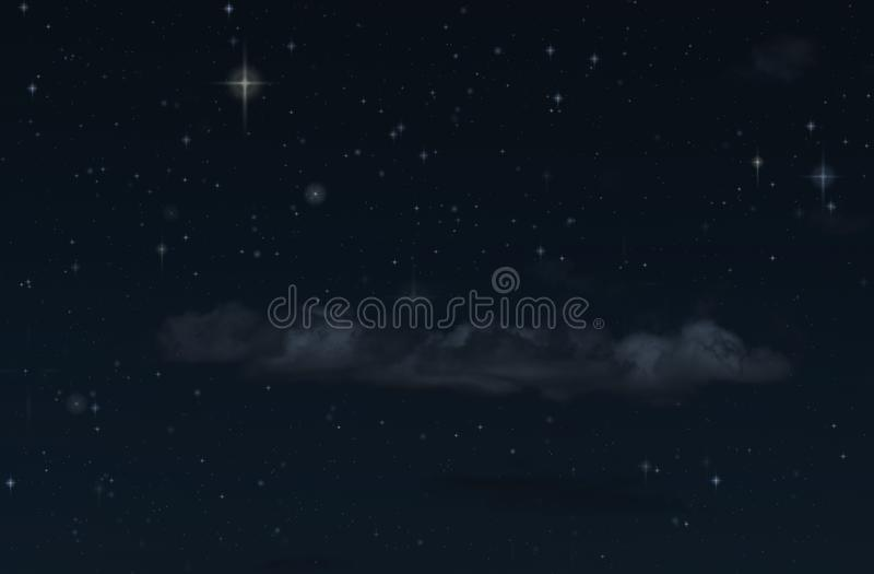 Himmel och moln för natt stjärnklar Extraknäcka mörka bakgrund och stjärnor i himlen royaltyfri fotografi