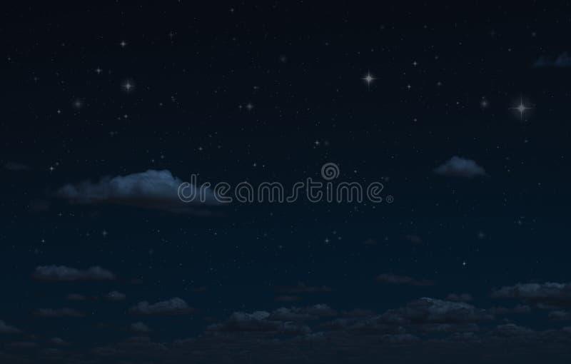 Himmel och moln för natt stjärnklar Extraknäcka mörka bakgrund och stjärnor i himlen arkivfoto