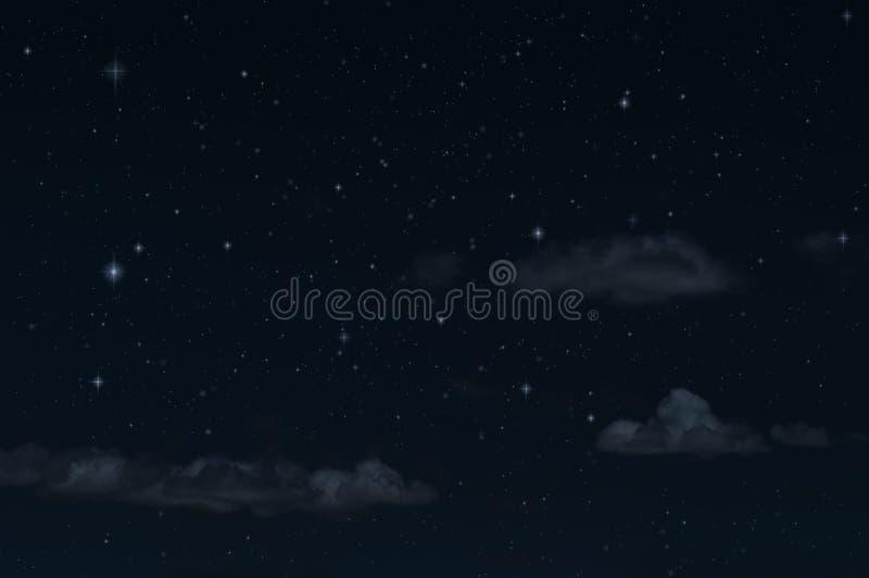 Himmel och moln för natt stjärnklar Extraknäcka mörka bakgrund och stjärnor i himlen royaltyfri foto