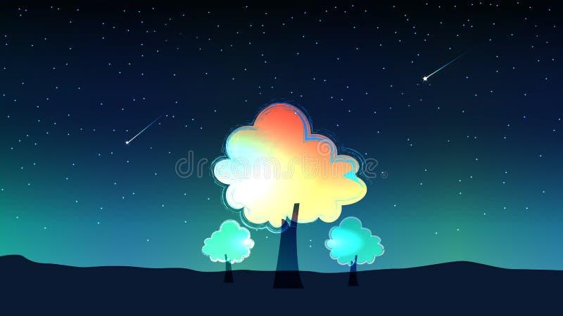 Himmel på natten och meteor med träd vektor illustrationer